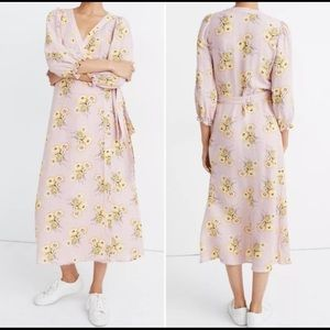 Madewell Dutch Dandelions linen wrap dress. Medium